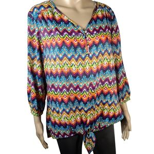Westbound Colorful Long Sleeve  Blouse